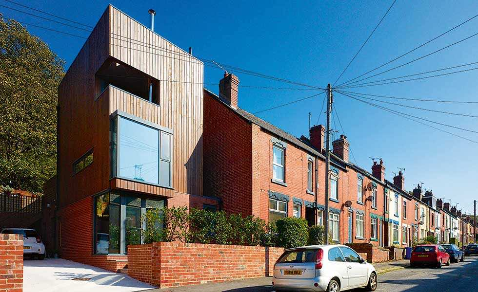a self build in the garden on a row of terraces