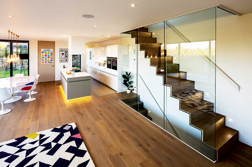 Contemporary self build in green belt homebuilding for House plans with stairs in kitchen
