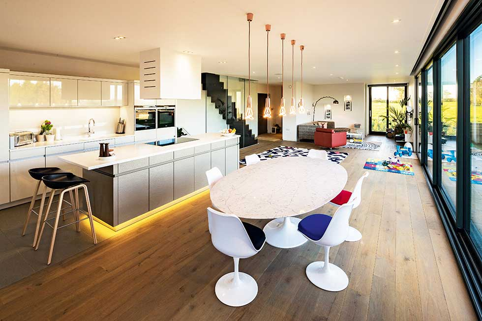 open plan kitchen dining living sips self build
