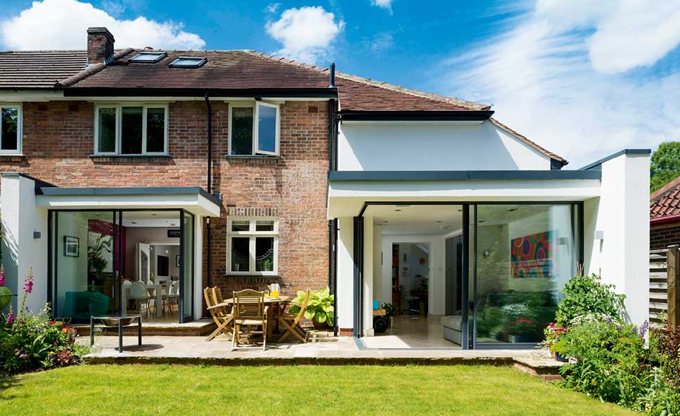 extended and remodelled semi-detached home with glazed sections