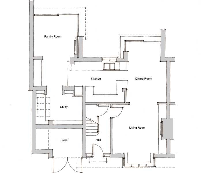 remodelled floor plan of a semi-detached home