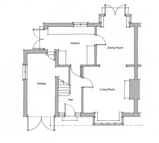 ground floor plan of a semi-detached home
