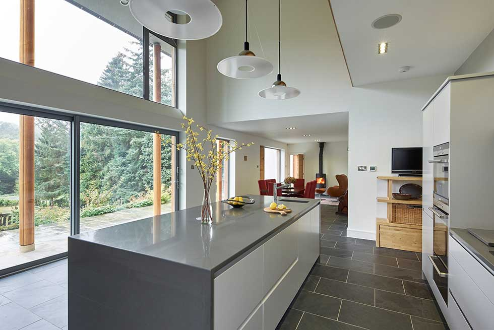 interior of modern self build kitchen