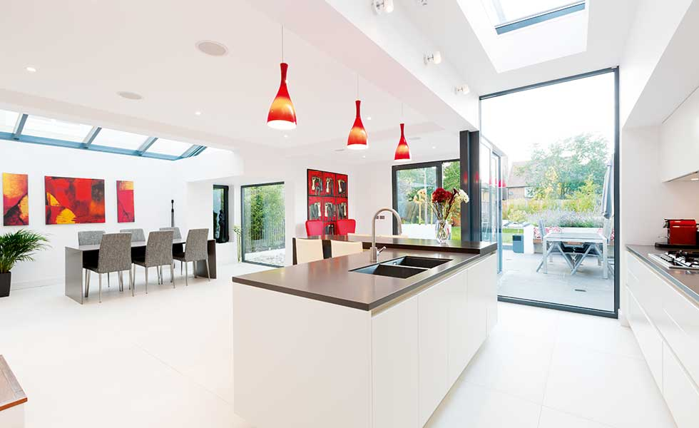 Kitchen diner open plan edwardian extension living room for Room extension plans