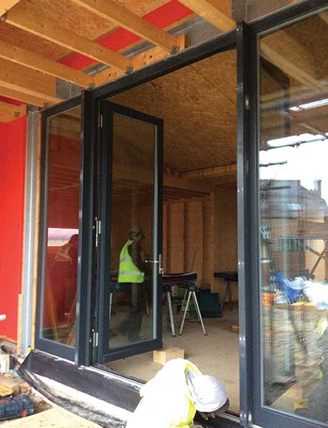open patio doors in Potton passivhaus