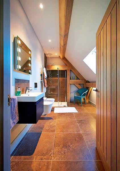 Oakwrights timber frame home oak bathroom