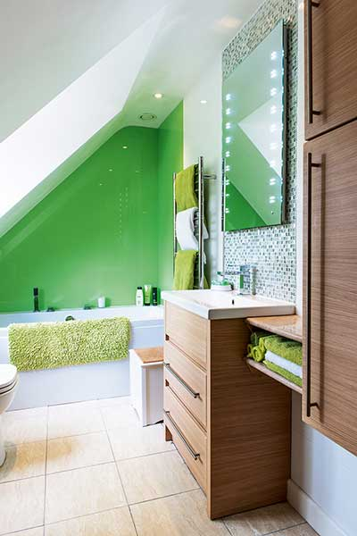 traditional style self build home green bathroom