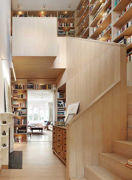 Built in library round and up stairs