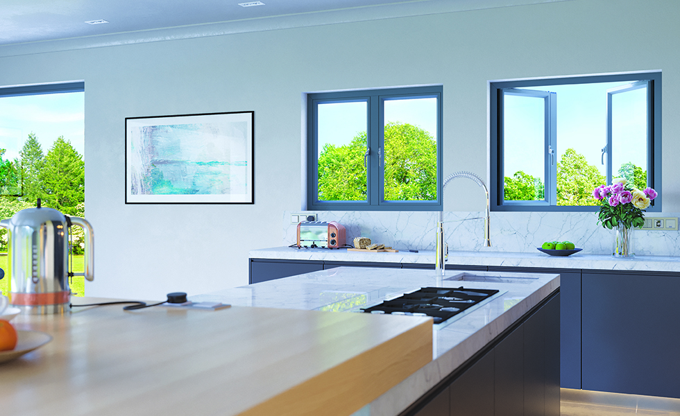 flush french windows in modern kitchen