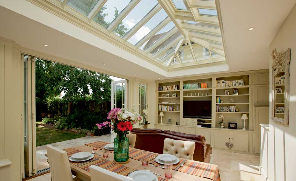 roof lantern in this dining room floods the space with light