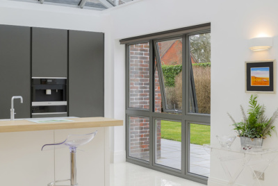 aluminium windows in contemporary kitchen