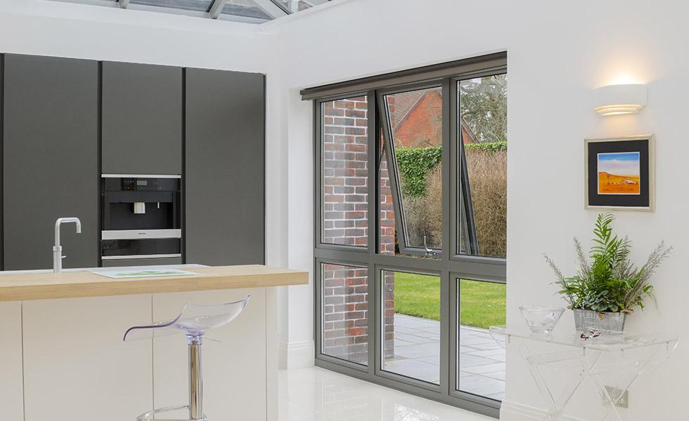 aluminium windows in contemporary kitchen