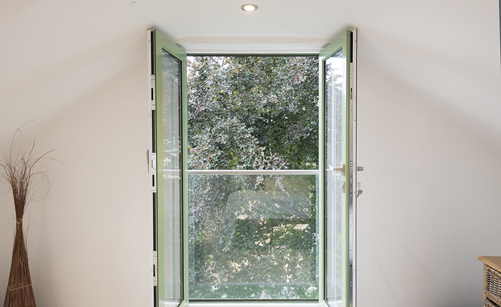 green coloured casement aluminium window