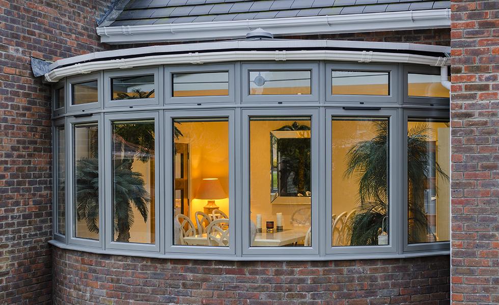 grey aluminium windows in home exterior