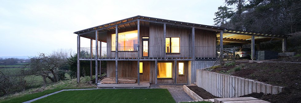 passivhaus in Somerset with timber cladding
