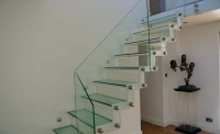 westline glass stairs white walls