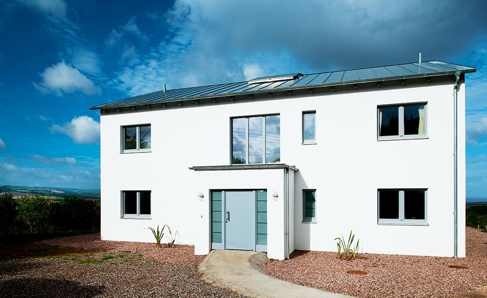 white render passivhaus self build