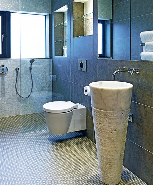 bathroom with stone pedestal