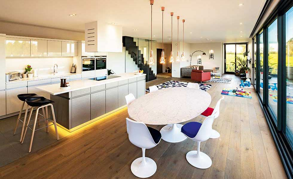 contemporary open plan kitchen in a self build