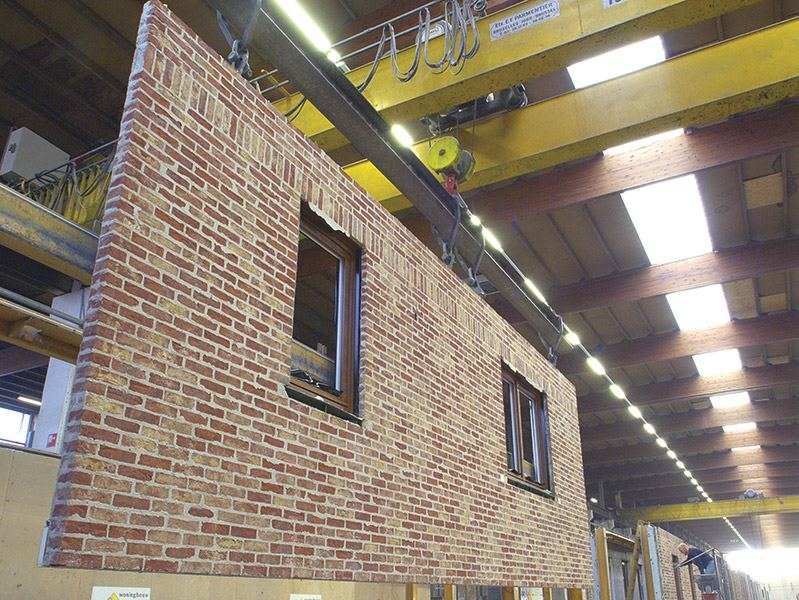 Danilith brick-faced insulated concrete panels in factory