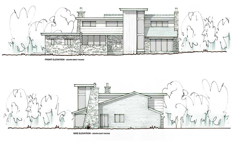 front elevation of a extension and remodel of a 1960s home