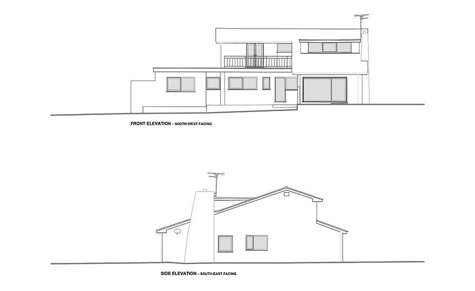 front elevation before plans remodel