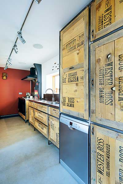 kitchen units with crates made from packing crates