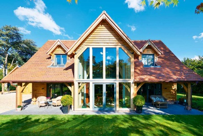 Oakwrights timber frame home cladding exterior glazing