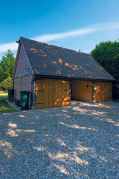 oak frame timber clad garage