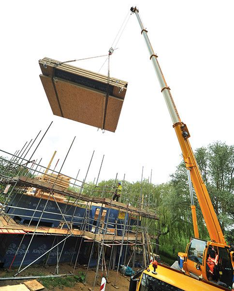 Potton SIPs being lifted into position by a crane