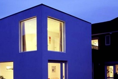 graphite studio architects square building at night