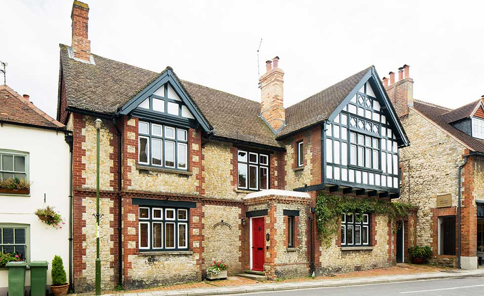 renovated half timbered period home built from brick