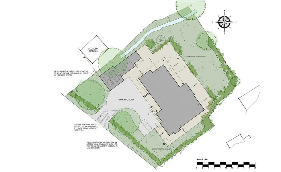 hand drawn site plans for planning permission application