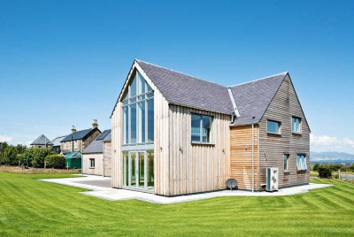 timber clad SIPs barn style self build