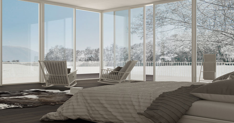 triple glazed sliding doors in bedroom