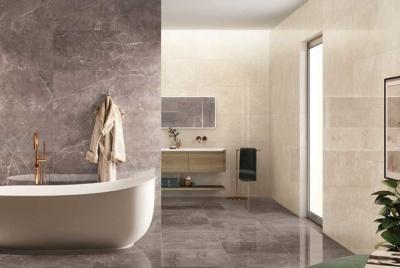 Neutral tiles in a bathroom