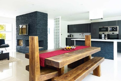Contemporary kitchen diner in remodelled bungalow