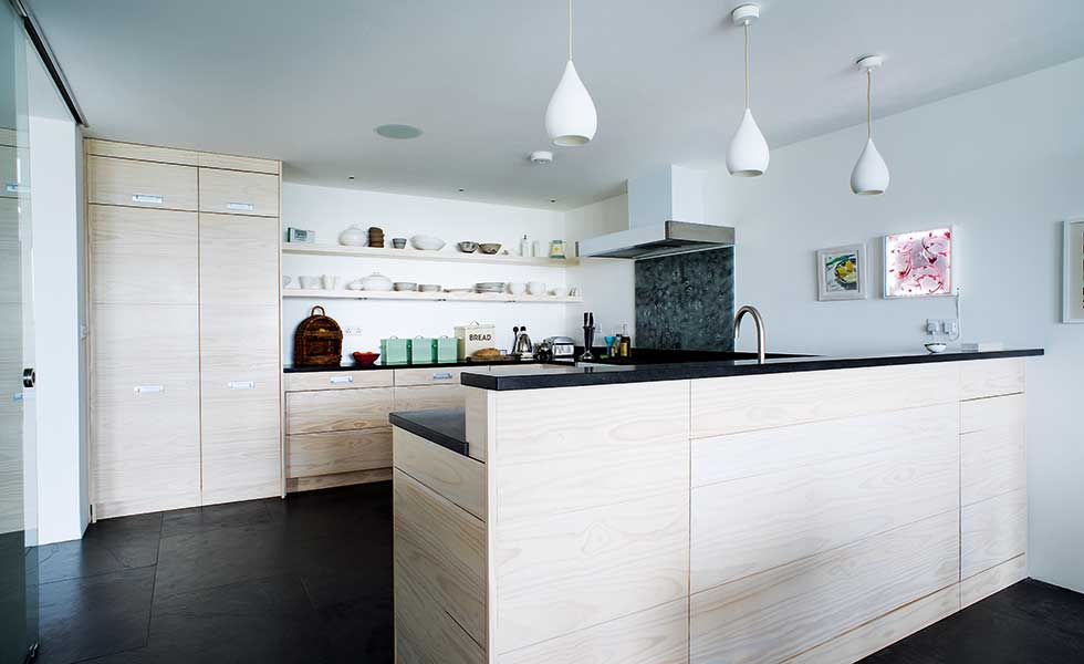 open plan kitchen diner with dividing units