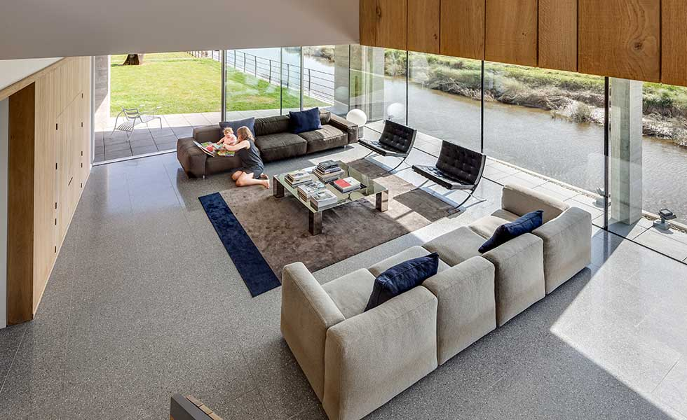 living room in modern open plan home