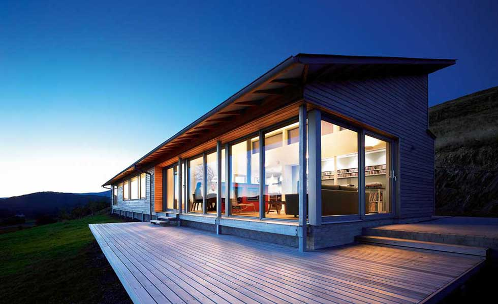 evening shot of modern bungalow in scottish highlands