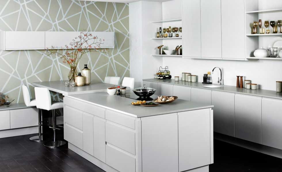 terence ball kitchens contemporary white gloss geometric wallpaper