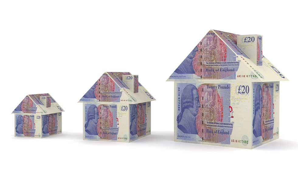 image of homes built from twenty pound notes to represent mortgages