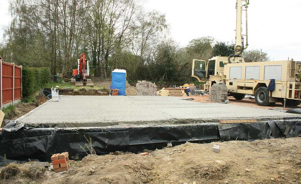 laying concrete foundations of new build home
