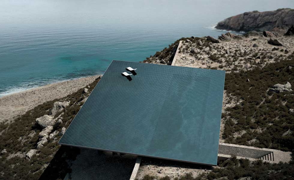 Cliffside Greek home with roof top pool