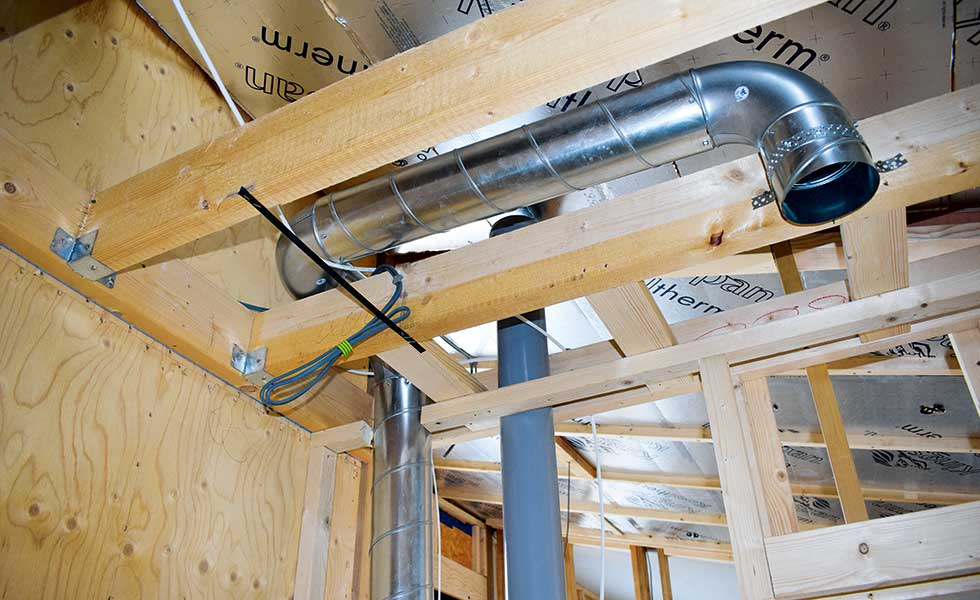 mechanical ventilation with heat recovery in first fix of Potton show home