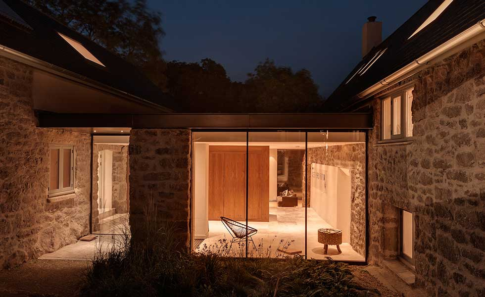 evening shot of glass extension