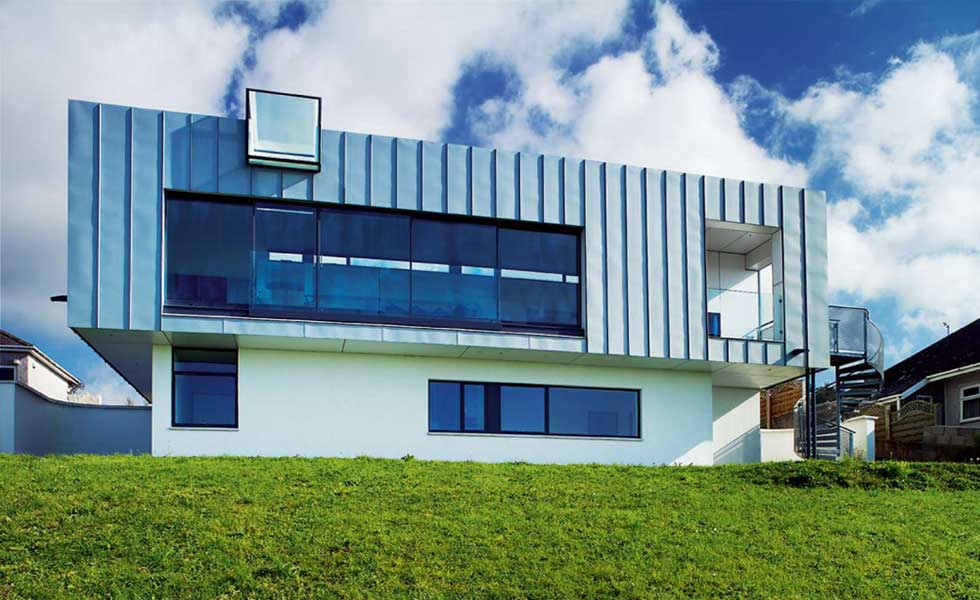 contemporary cliff top upside down home
