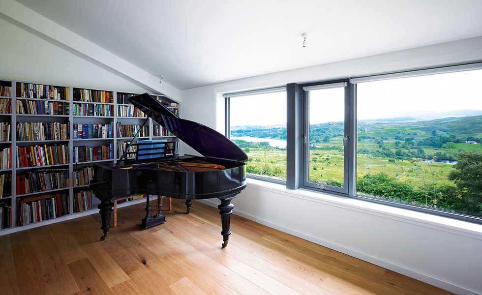 river views from home with grand piano