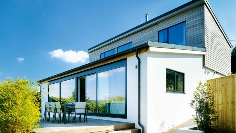 sloping site bungalow remodelled with a modern extension