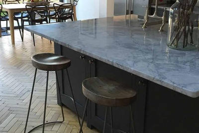 parquet floor kitchen marble top
